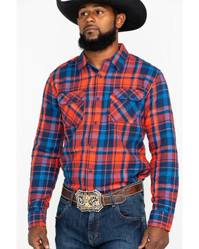 Levi's Men's Turin Slub Plaid Long Sleeve Western Shirt , Red, hi-res