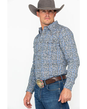Wrangler Retro Men's Floral Plaid Long Sleeve Western Shirt, Black/blue, hi-res