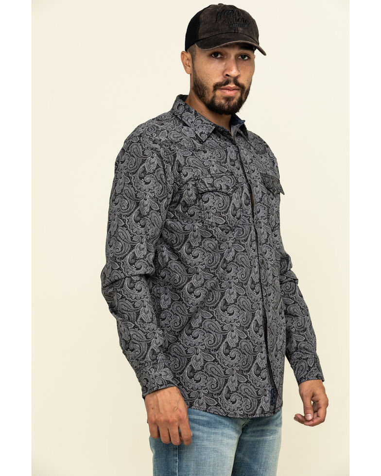 Moonshine Spirit Men's Black Pearl Paisley Print Long Sleeve Western Shirt , Black, hi-res
