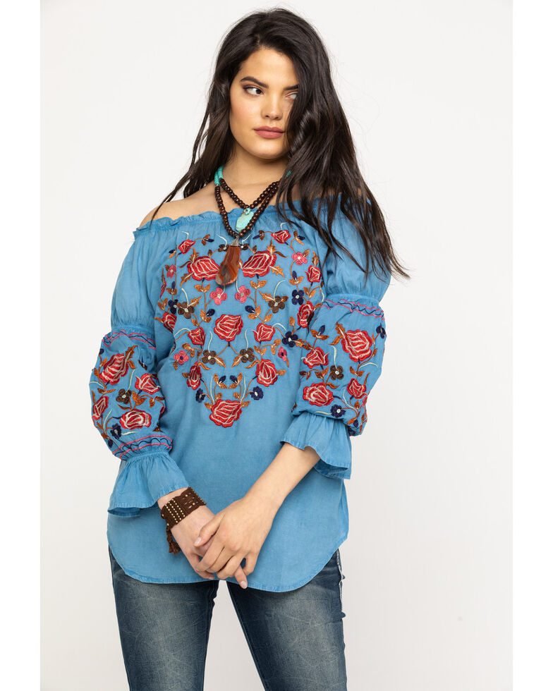 Honey Creek by Scully Women's Blue Avalanche Peasant Blouse, Blue, hi-res