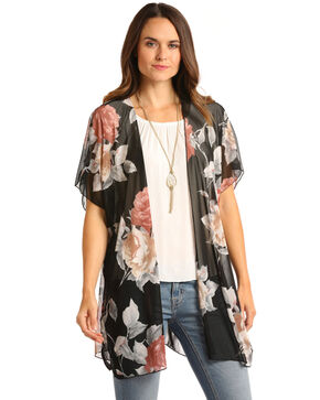 White Label by Panhandle Women's Black Floral Mesh Kimono, Black, hi-res