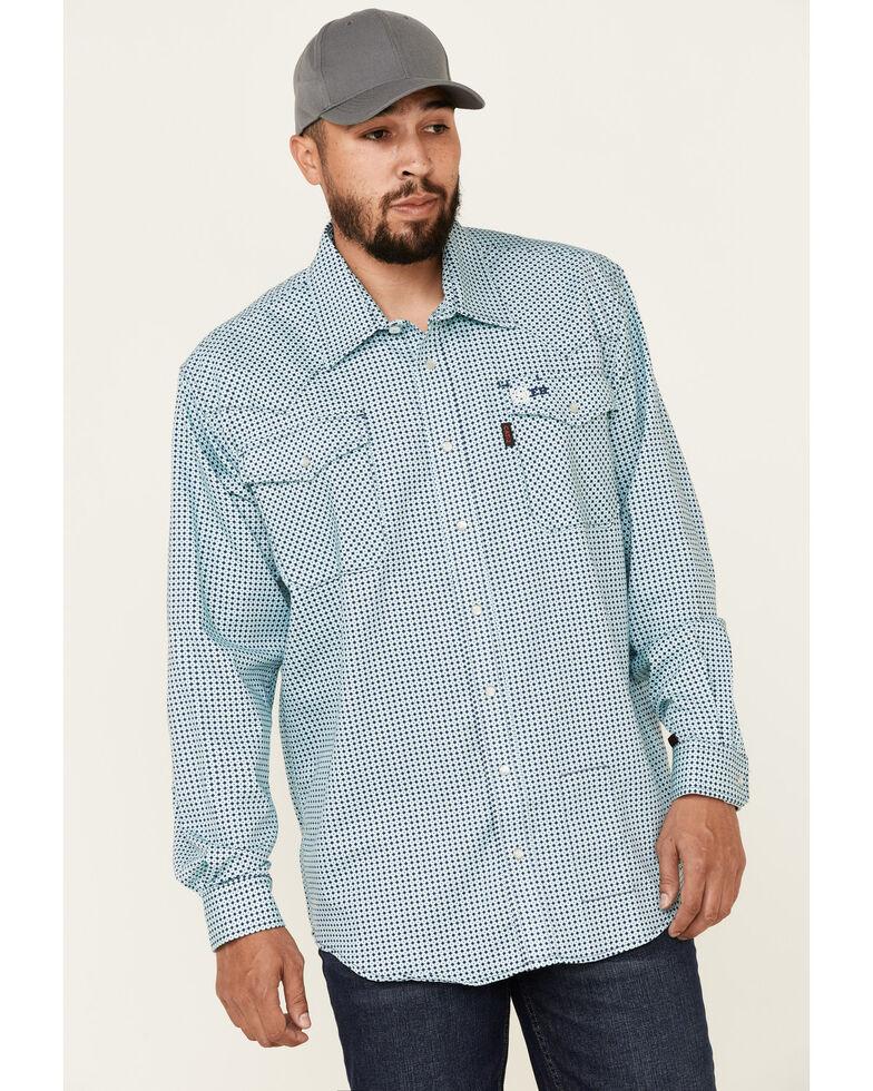 Cinch Men's FR Light Blue Geo Print Lightweight Long Sleeve Work Shirt , Light Blue, hi-res
