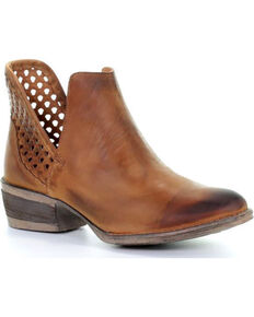 Circle G Women's Brown Cut-Out Booties - Round Toe, Brown, hi-res