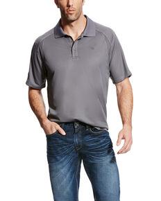 Ariat Men's Grey AC Pique Short Sleeve Polo Short , Grey, hi-res