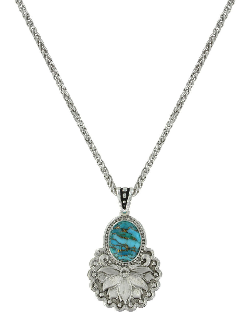 Montana Silversmiths Women's Turquoise Holding Onto Nature Necklace , Gold, hi-res