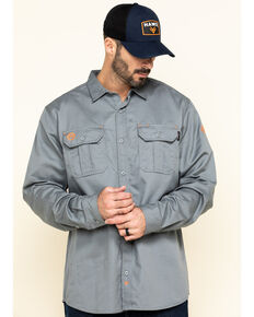 Hawx Men's Grey FR Long Sleeve Woven Work Shirt - Big , Silver, hi-res
