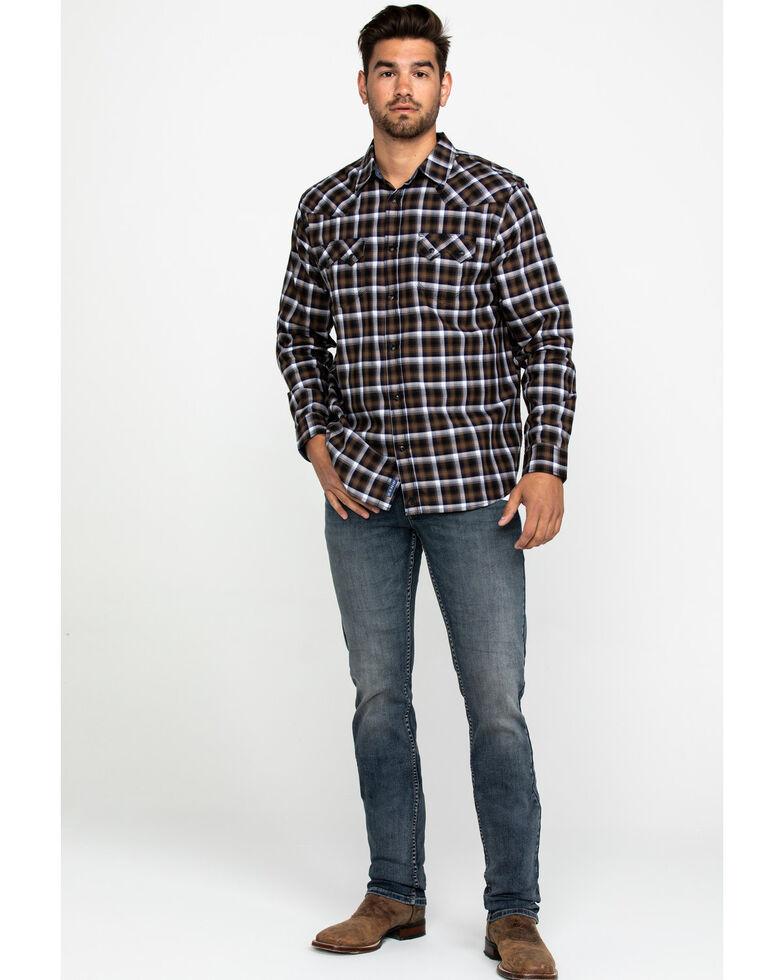 Moonshine Spirit Men's Terrain Ombre Plaid Long Sleeve Western Shirt , Navy, hi-res