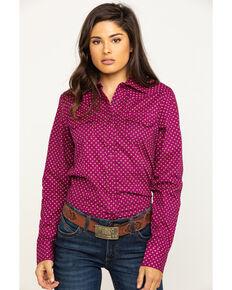 Cinch Women's Purple Tile Print Snap Long Sleeve Western Shirt , Purple, hi-res