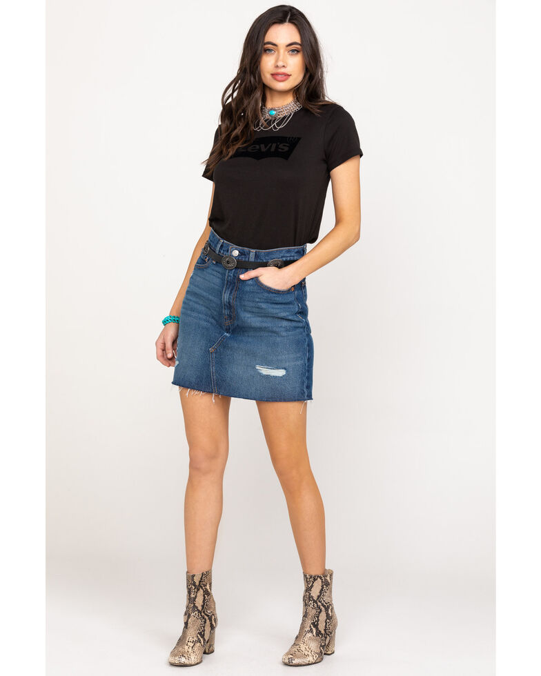 Levi's Women's High-Waisted Deconstructed Iconic Skirt, Blue, hi-res