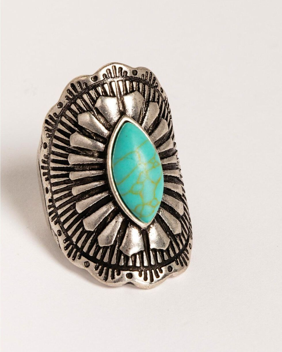 Idyllwind Women's Turquoise Crest Ring, Silver, hi-res