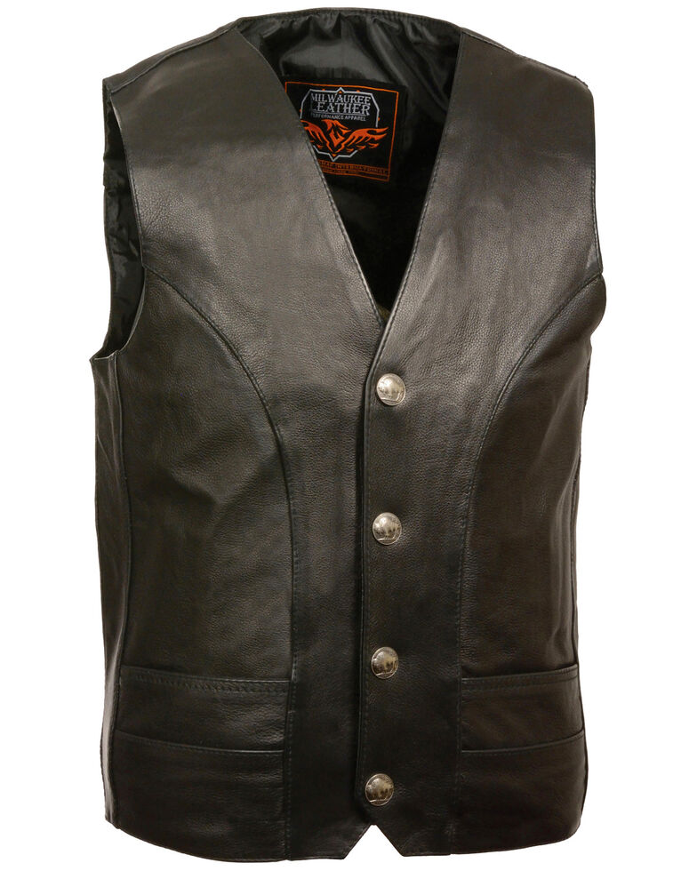 Milwaukee Leather Men's Buffalo Nickel Snap Classic Vest - XBig, Black, hi-res