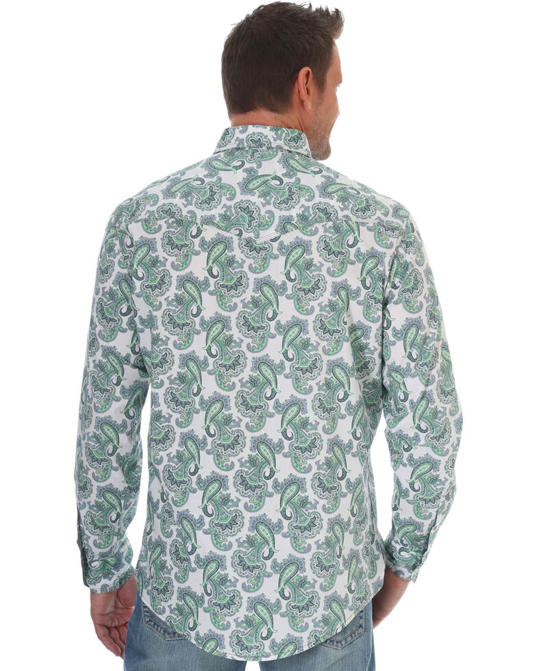 Wrangler 20X Men's Green Paisley Pirnt Advanced Comfort Long Sleeve Western Shirt , Green, hi-res