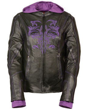 Milwaukee Leather Women's 3/4 Jacket With Reflective Tribal Detail - 3X, Black/purple, hi-res