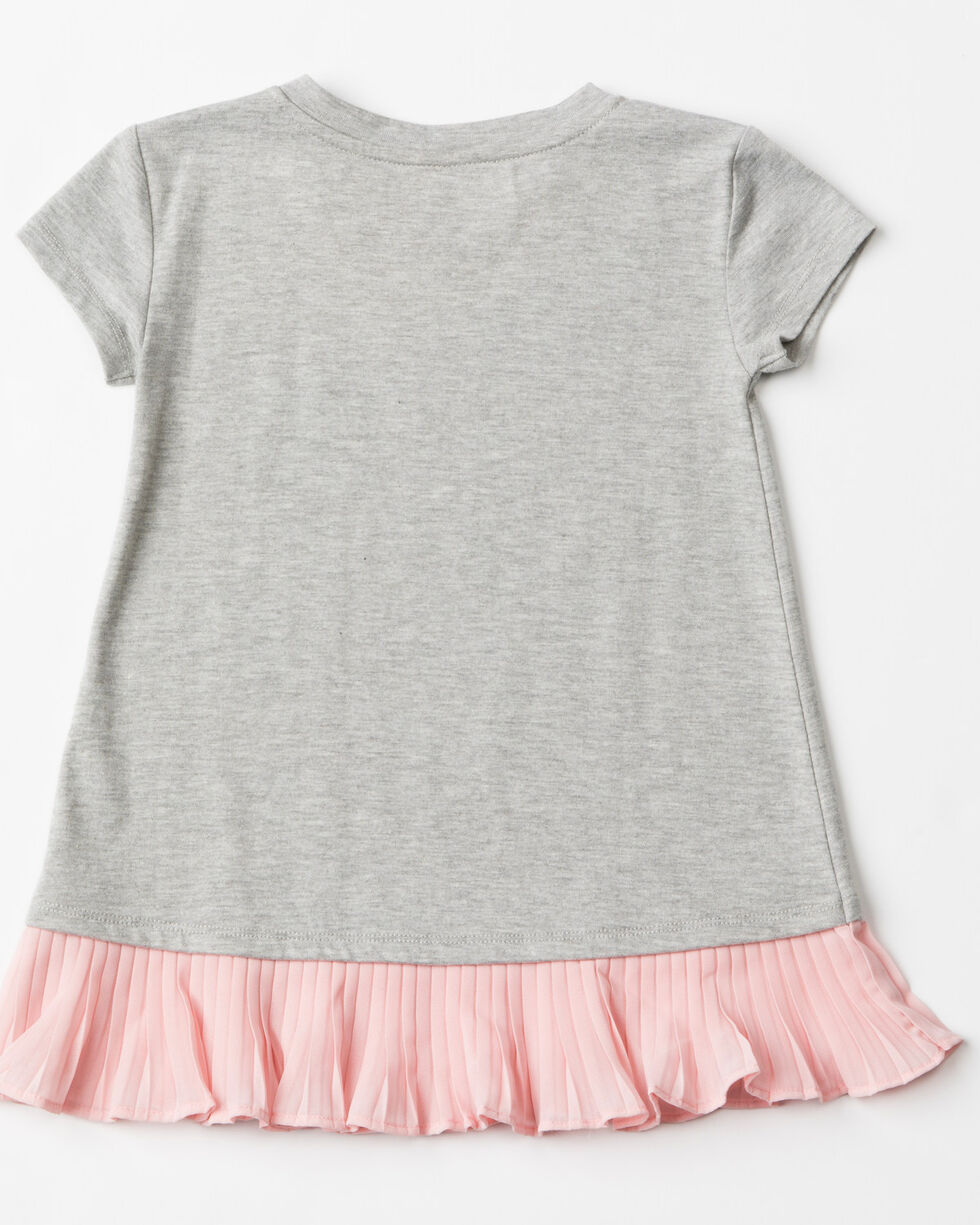 Shyanne Toddler Girls' Ruffle Screen Knit Short Sleeve Tee , Grey, hi-res