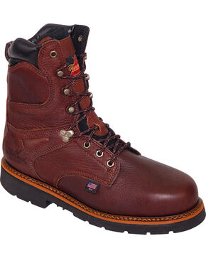 "Thorogood Men's 8"" Waterproof Work Boots - Steel Toe, Brown, hi-res"