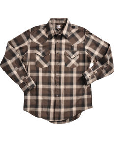 Ely Cattleman Men's Brown Peached Plaid Shirt , Brown, hi-res