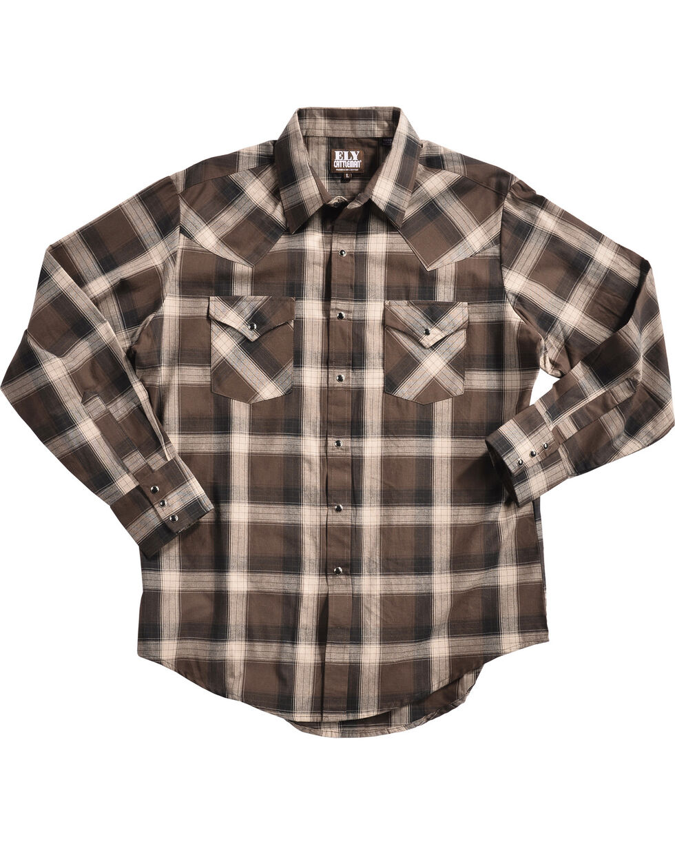 Ely Cattleman Men's Brown Peached Plaid Shirt , Brown, hi-res