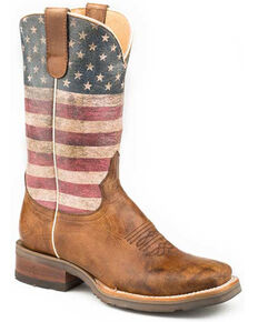 Roper Women's Rustic American Flag Western Boots - Square Toe, Brown, hi-res
