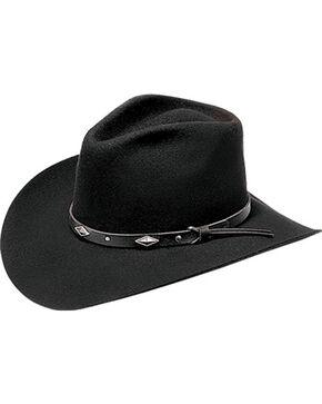 Master Hatters Men's Diamond Wool Felt Cowboy Hat, Black, hi-res
