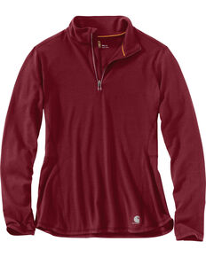 Carhartt Women's Force Ferndale Quarter Zip Shirt , Black Cherry, hi-res