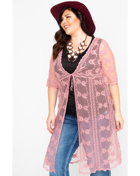 Forgotten Grace Women's Lace Tie Front Duster Kimono - Plus, Mauve, hi-res