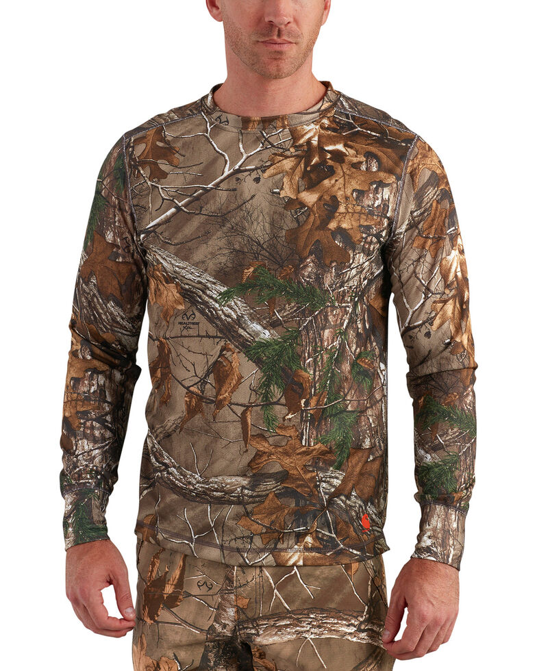 Carhartt Men's Base Force Extremes Cold Weather Camo Crewneck Shirt -Tall , Camouflage, hi-res