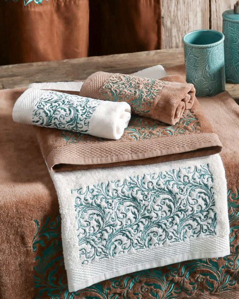 HiEnd Accents Wyatt Embroidered Towel Set - 3 Pieces , Cream, hi-res