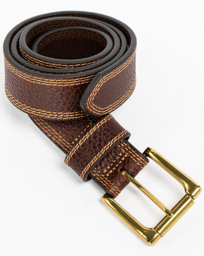 Cody James Men's Triple Contrast Stitch Belt, Brown, hi-res