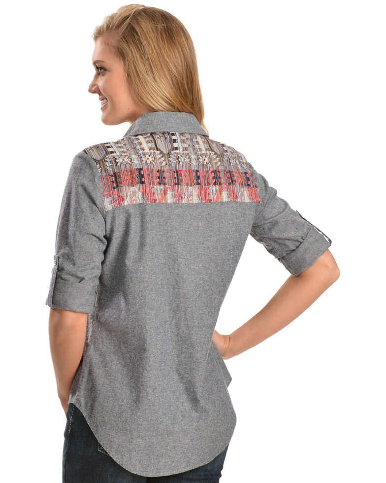 White Crow Women's Aztec Print Long Sleeve Shirt, Blue, hi-res