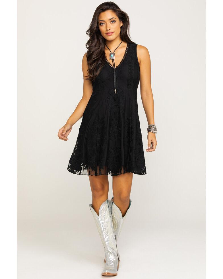 Shyanne Women's Black Lace Fit & Flare Dress, Black, hi-res