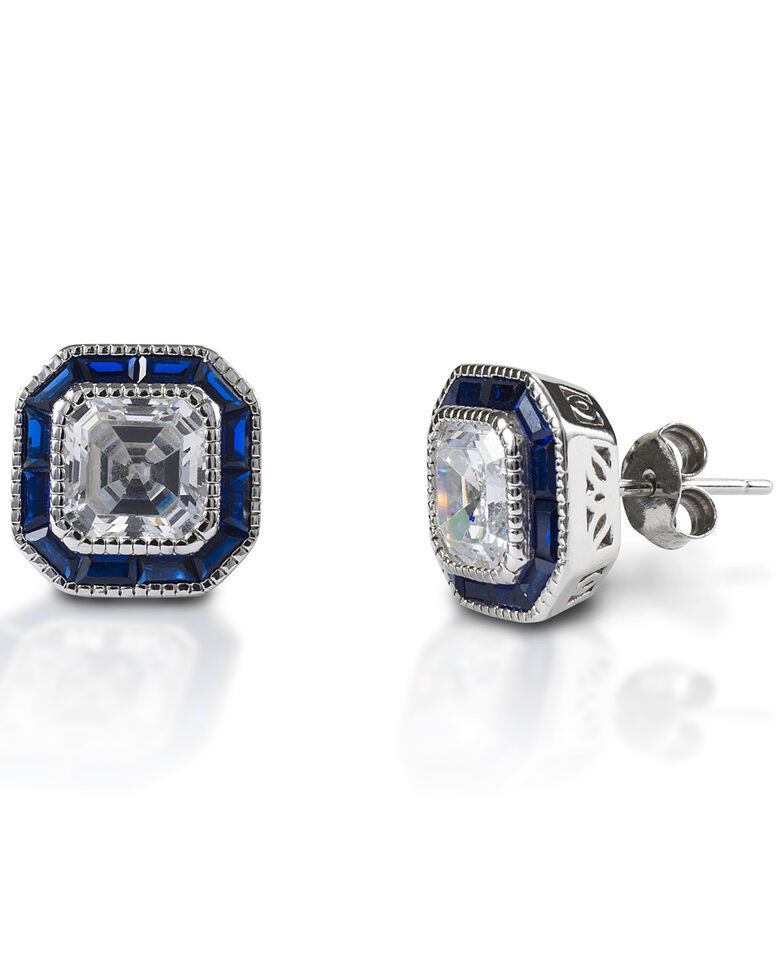 Kelly Herd Women's Asscher Cut Blue Spinel Earrings , Silver, hi-res