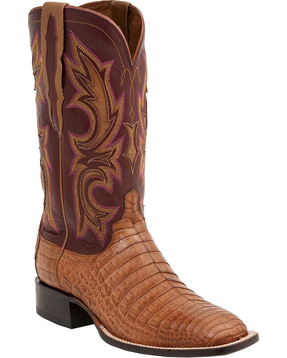 Lucchese Men's Shiloh Exotic Caiman Western Boots, Tan, hi-res
