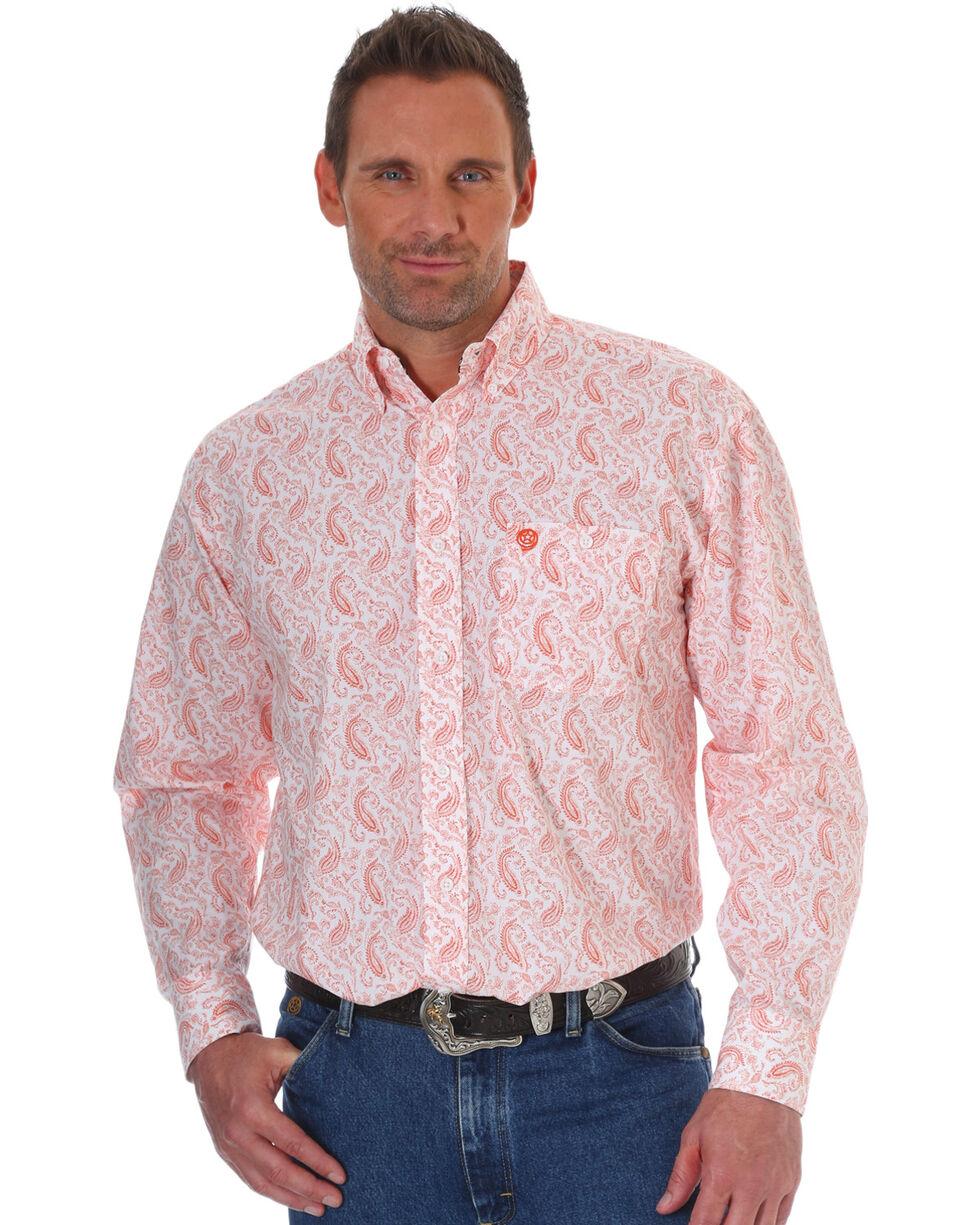 Wrangler Men's George Strait Orange Paisley Print Shirt , Orange, hi-res