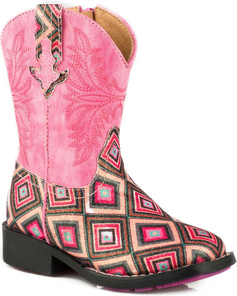 Roper Toddler Girl's Glitter Gal Pink Glitter Diamonds Cowgirl Boots - Square Toe, , hi-res