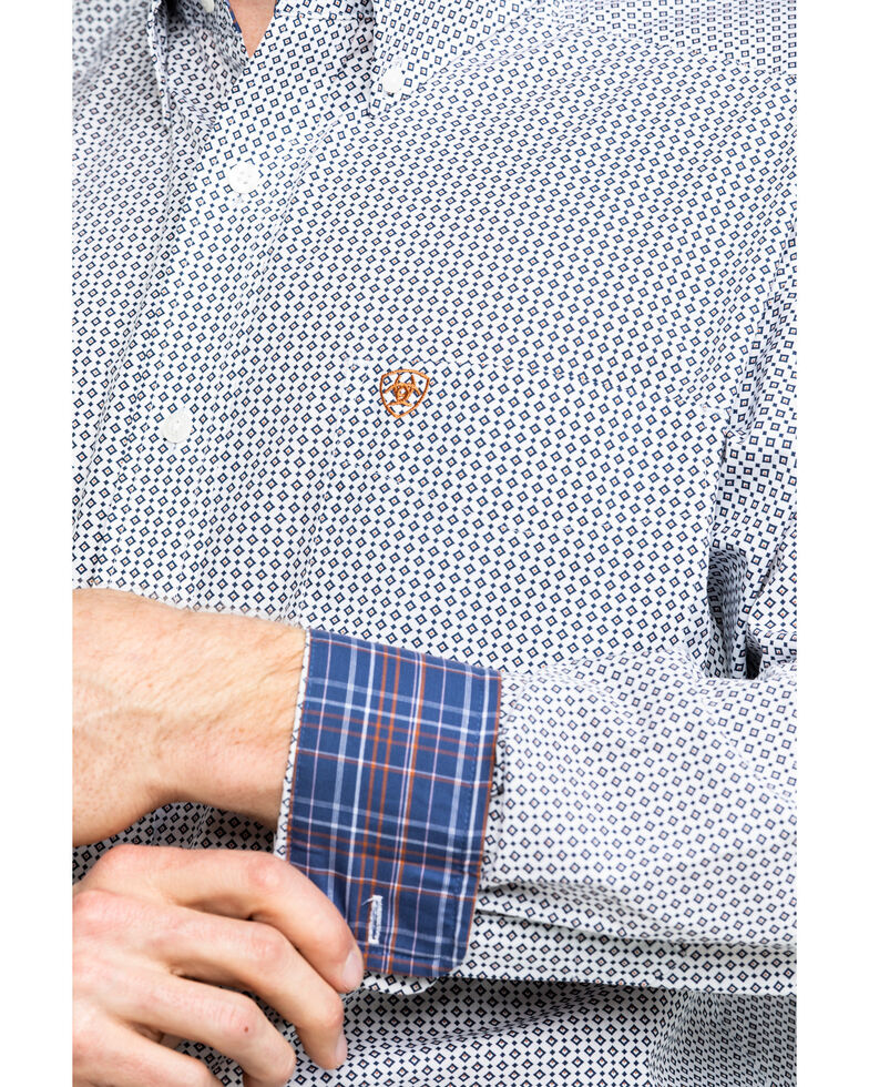 Ariat Men's Wrinkle Free Vaness Print Long Sleeve Western Shirt - Tall, White, hi-res