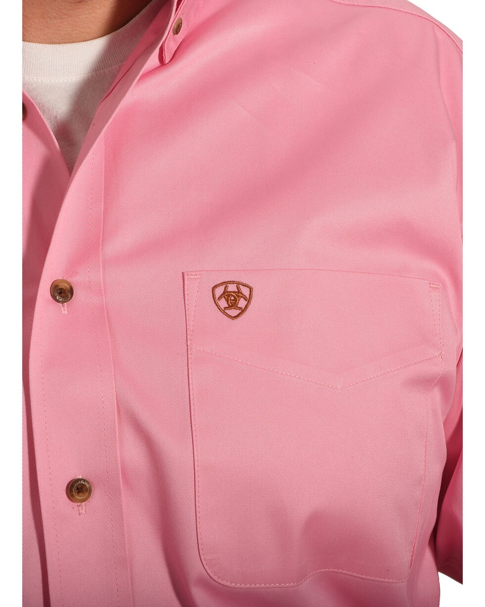 Ariat Men's Pink Classic Fit Solid Twill Shirt, Pink, hi-res