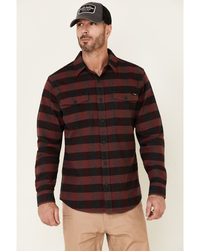 Hawx Men's Dark Red Harris Stretch Plaid Long Sleeve Button Flannel Work Shirt, Dark Red, hi-res