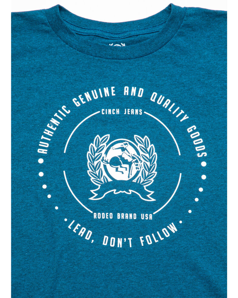 Cinch Boys' Lead Don't Follow Logo Graphic T-Shirt , Blue, hi-res