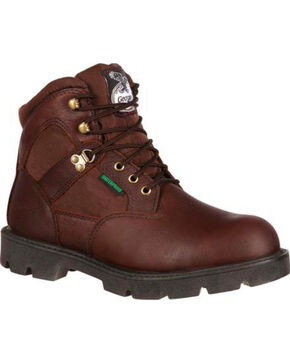 "Georgia Men's 6"" Lace Up Work Boots, Brown, hi-res"