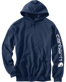 Carhartt Men's Hooded Logo-Sleeve Sweatshirt, Navy, hi-res