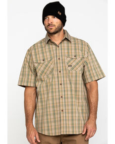 Ariat Men's Tan Plaid Rebar Made Tough Short Sleeve Work Shirt - Tall , Beige/khaki, hi-res