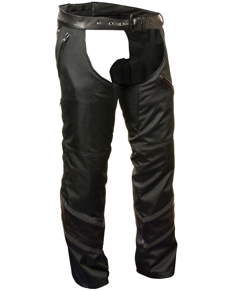 Milwaukee Leather Men's Leather Trim Snap Out Liner Vented Textile Chaps, Black, hi-res