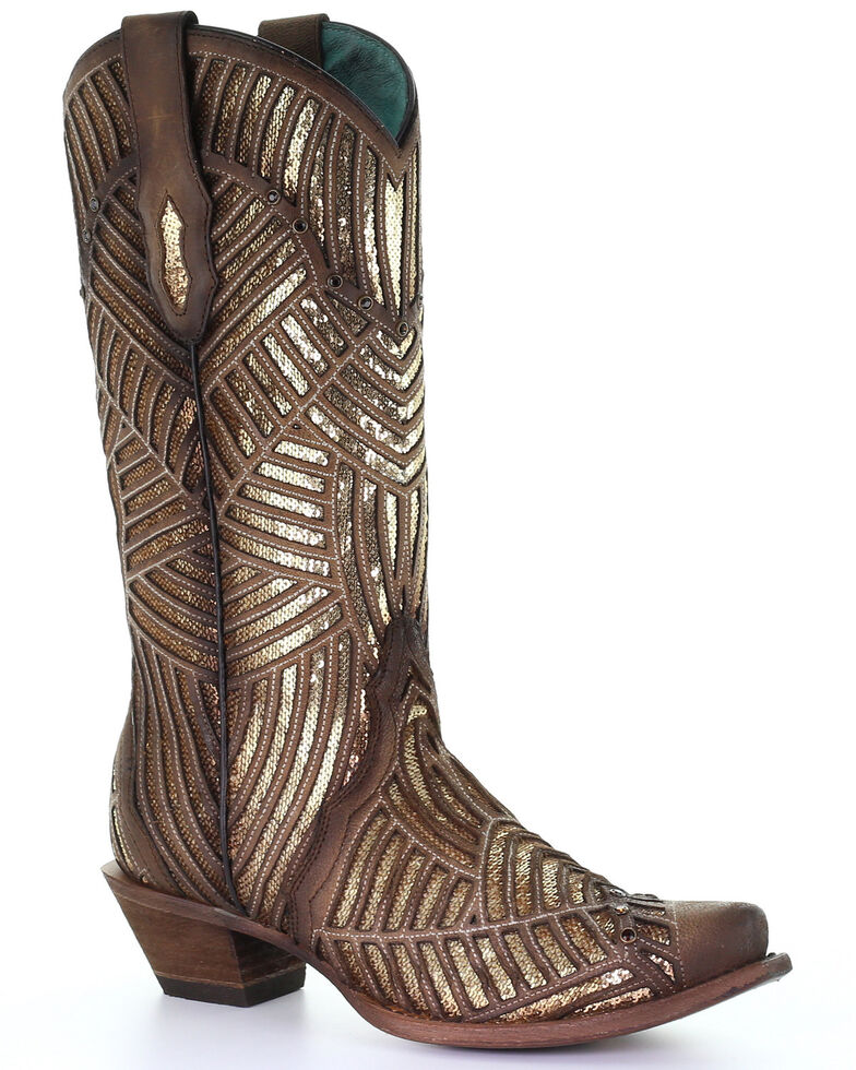 Corral Women's Gold Bright Inlay Western Boots - Snip Toe, , hi-res