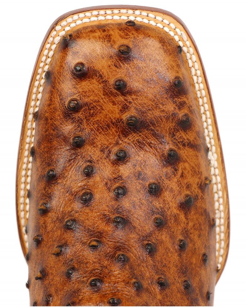 Tanner Mark Men's Ostrich Print Western Boots - Square Toe, Cognac, hi-res