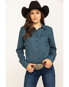 Cinch Women's Navy Geo Circle Print Long Sleeve Western Shirt, Navy, hi-res