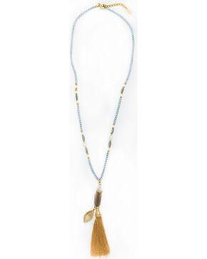 Sincerely Mary Women's Carman Beaded Tassel Necklace, Grey, hi-res