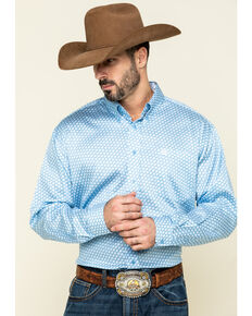 Cinch Men's Light Blue Square Geo Print Long Sleeve Western Shirt , Light Blue, hi-res