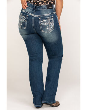 Grace In LA Women's White Cross Embroidered Pocket Straight Jeans - Plus , Indigo, hi-res