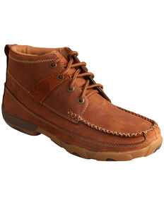 Twisted X Women's Saddle Lace-Up Driving Mocs, Brown, hi-res