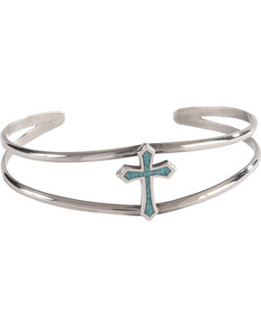 Silver Legends Women's Sterling Silver & Turquoise Cross Bracelet, Turquoise, hi-res